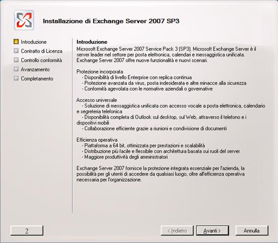 Exchange Server 2007 e l'installazione del Service Pack 3