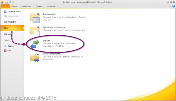 Outlook come esportare indirizzi da posta in arrivo